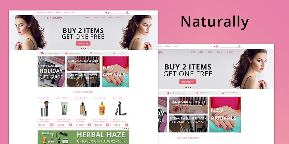 Naturally Beauty Web Template PSD