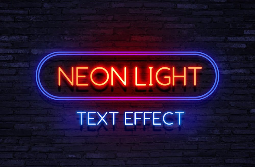 Neon Light Text Effect PSD
