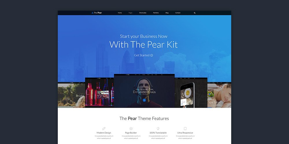 Pear Landing Page Template PSD
