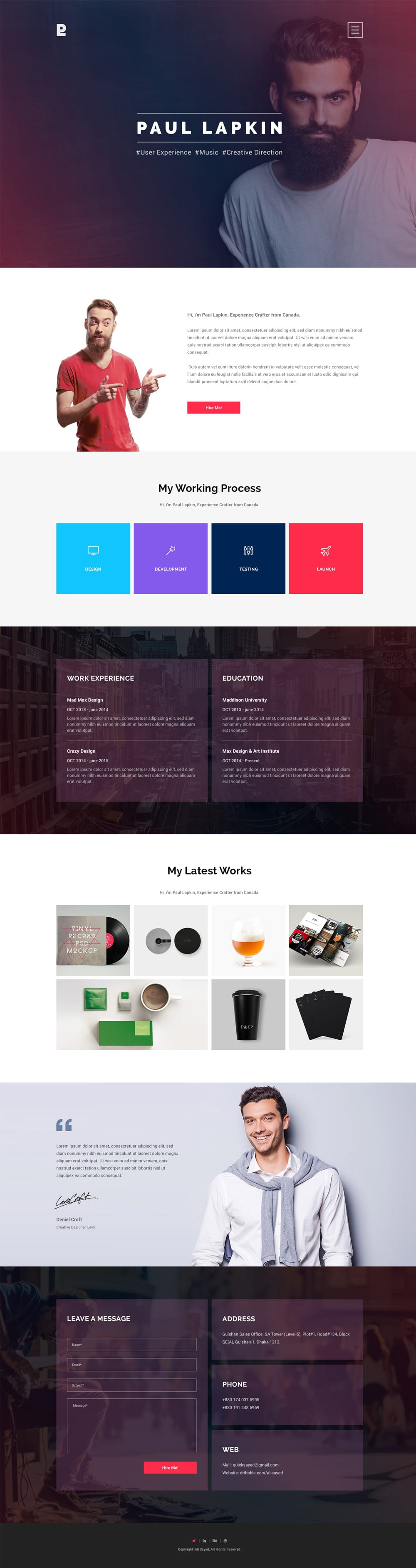 Personal Site Free PSD