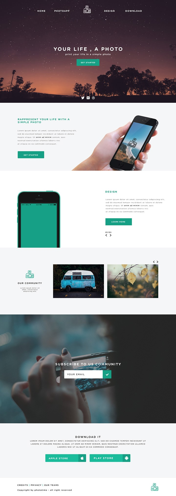 Phototime – Free Website Template PSD