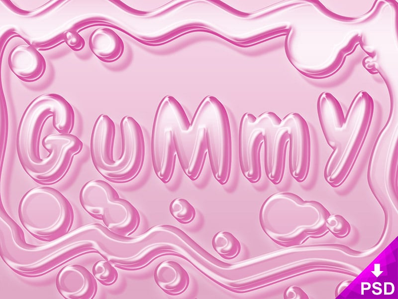 Pink Gummy Text Style PSD