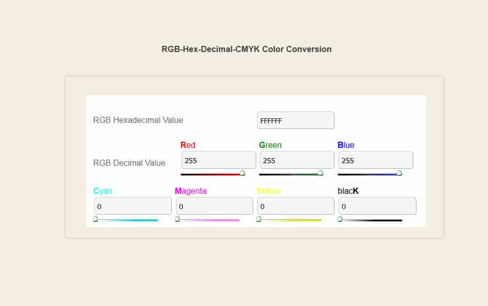 RGB-Hex-Decimal-CMYK Color Conversion Tool