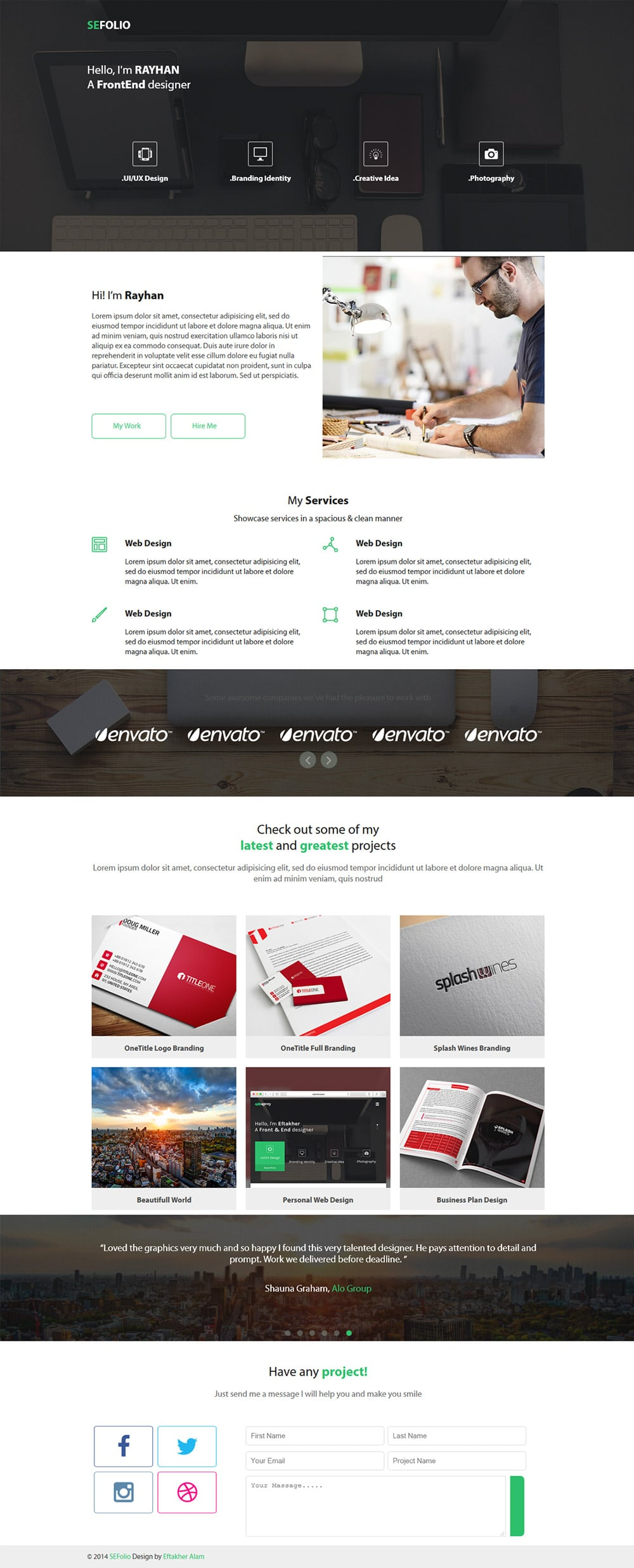Free portfolio website templates psd css author sefolio free portfolio web template psd sefolio download pronofoot35fo Gallery