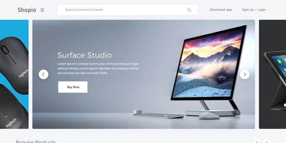 Shopio Free eCommerce Web Template PSD