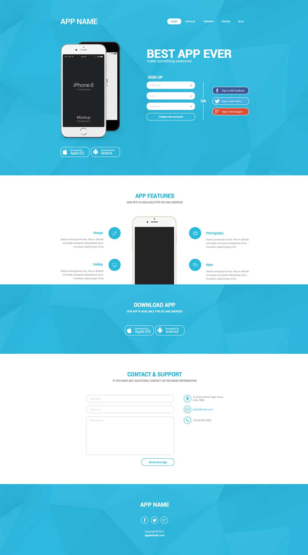 Simple Landing Page PSD for Mobile App