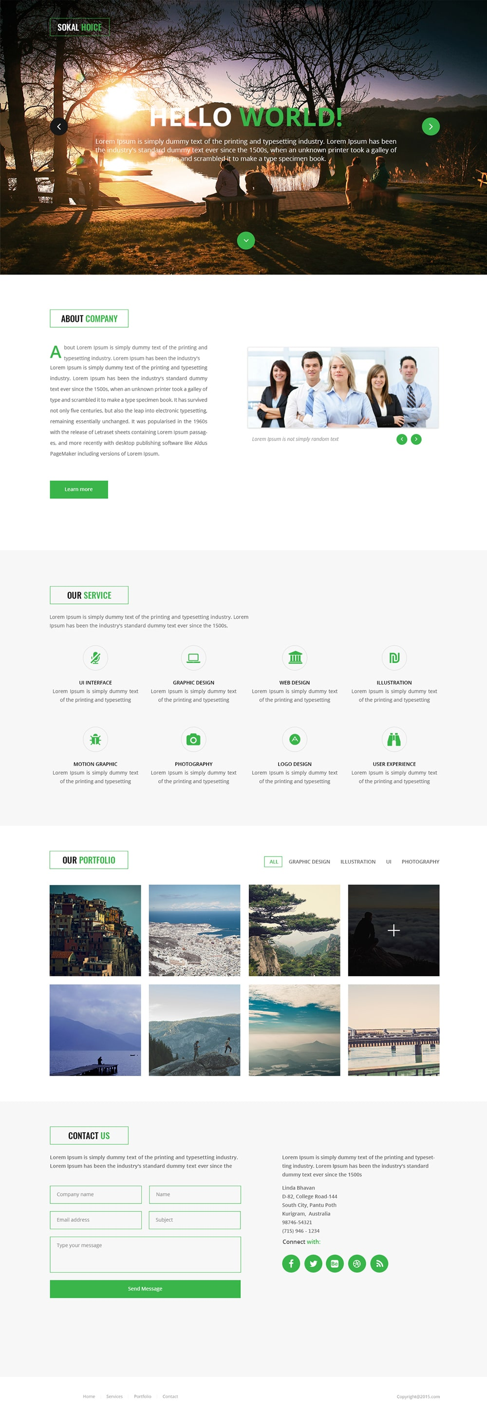 Free Corporate and Business Web Templates PSD – Company Portfolio Template