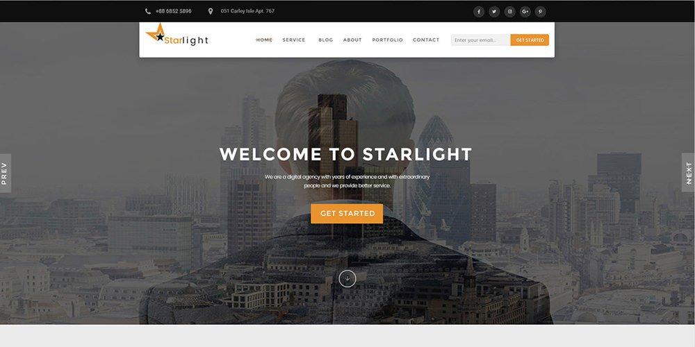 Starlight Free Corporate Portfolio Template PSD