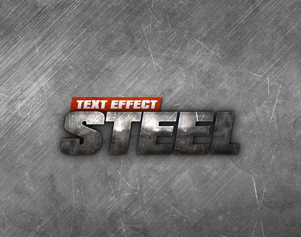 Steel Text Effect PSD