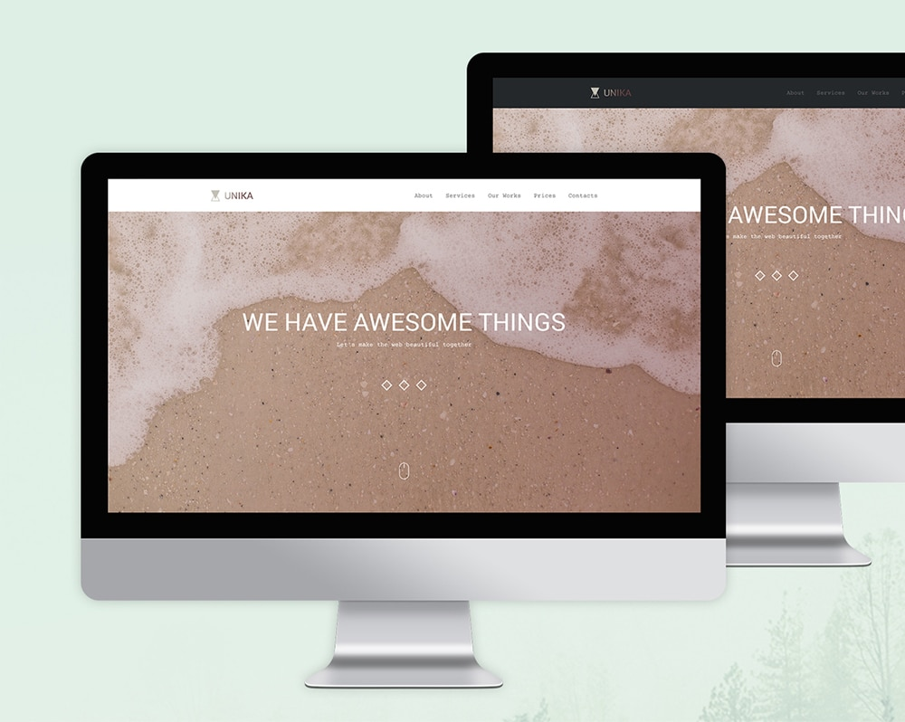 Unika - Free One Page Web Template PSD