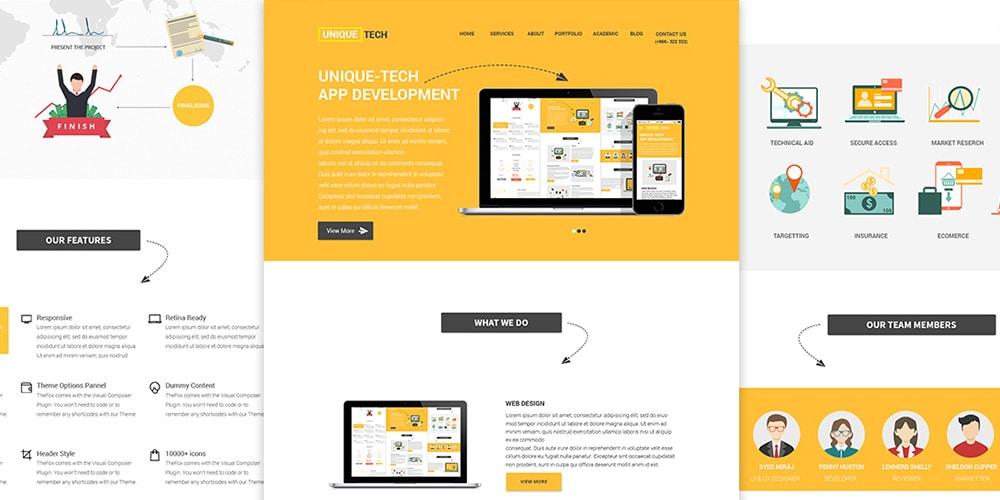 Unique Tech Website UI PSD