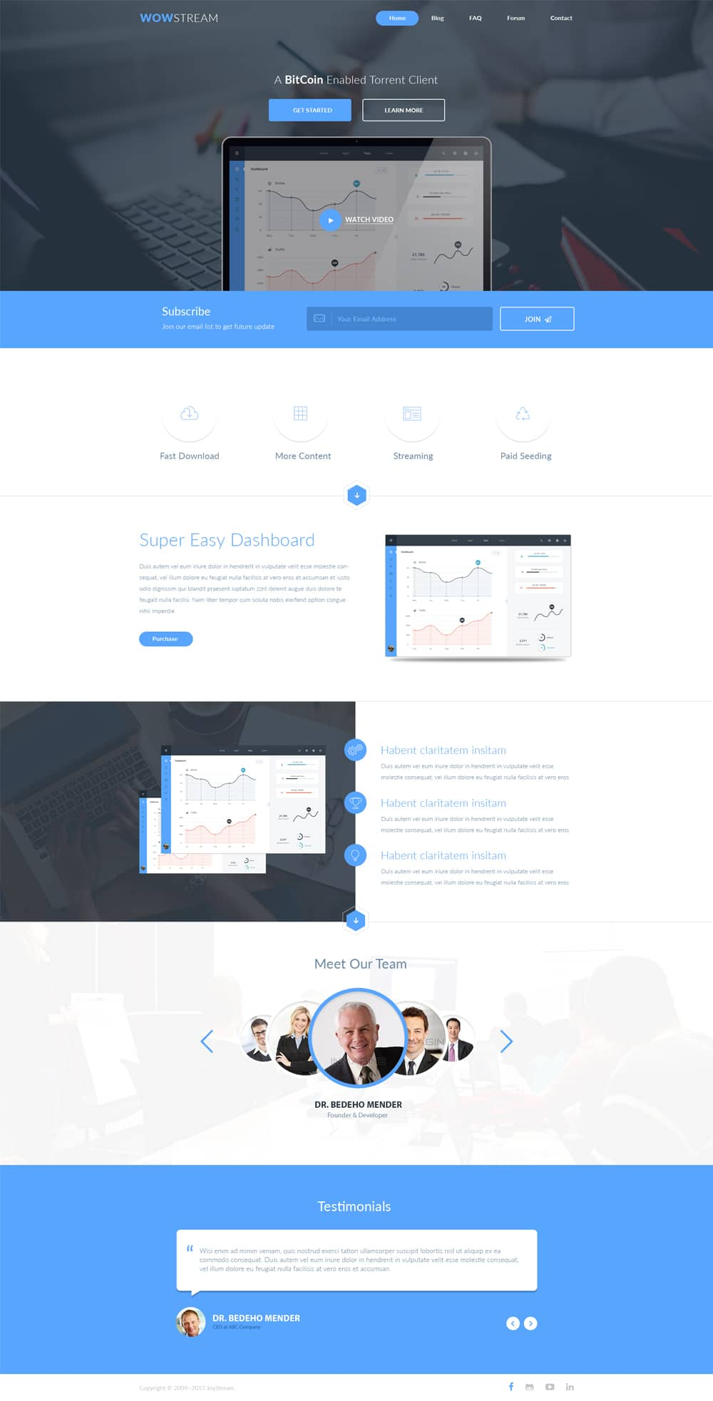 WOWStream Free Landing Page Web Template PSD