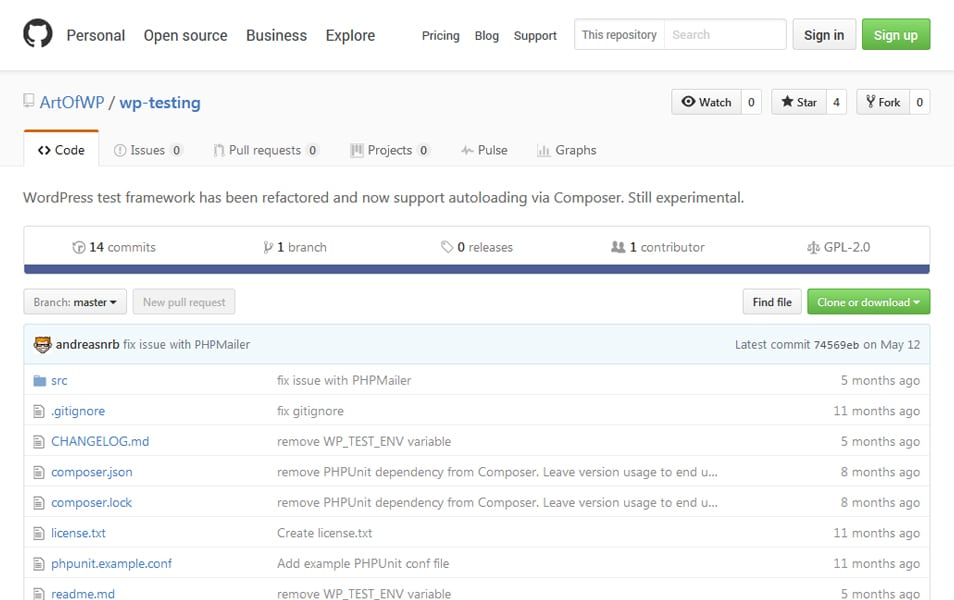 WP Testing framework
