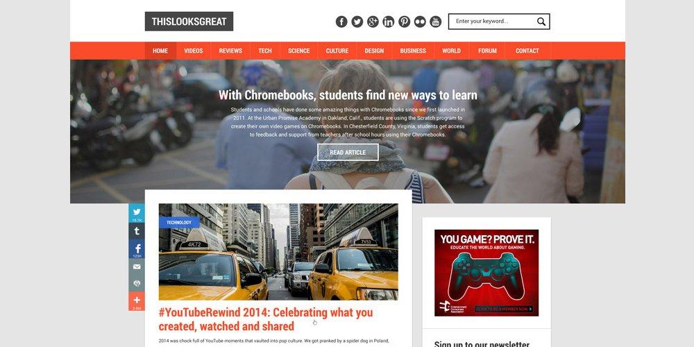 Web Blog Design Template PSD