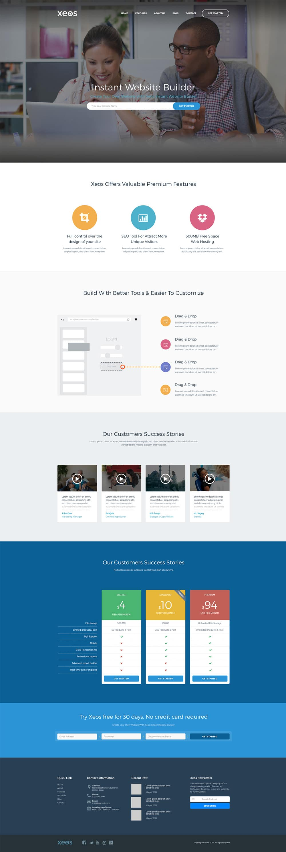 Xeos Landing Page Template PSD