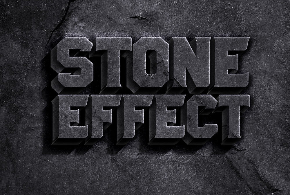 stone text effect psd