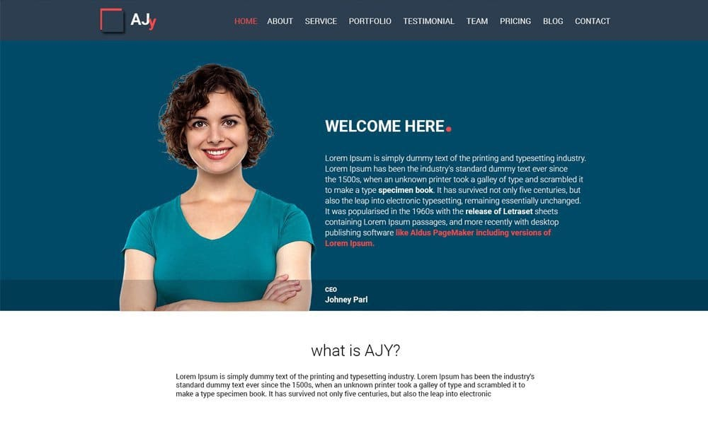 AJy – One Page Bootstrap HTML Template