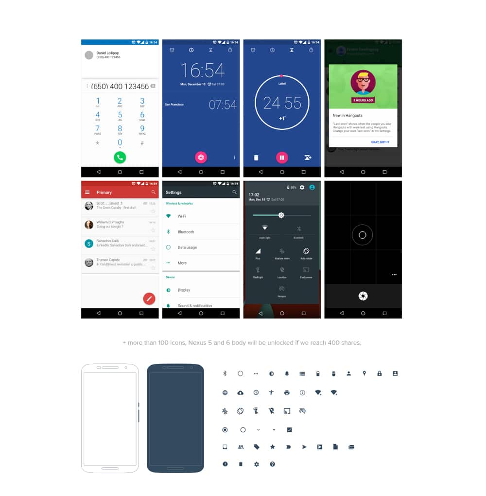 Android Lollipop UI Design Kit