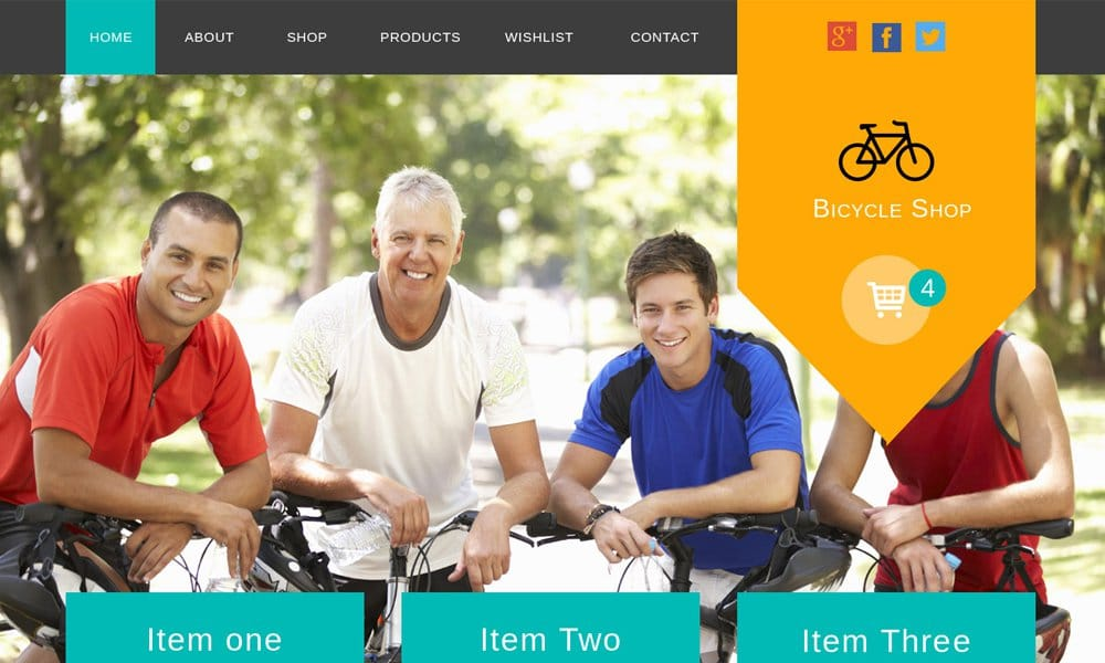 Bicycle Shop – Free E Commerce Web Template PSD