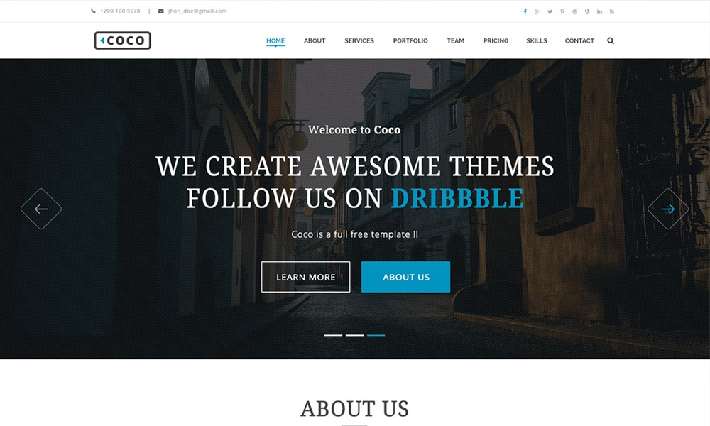 Coco - Free Business Theme PSD