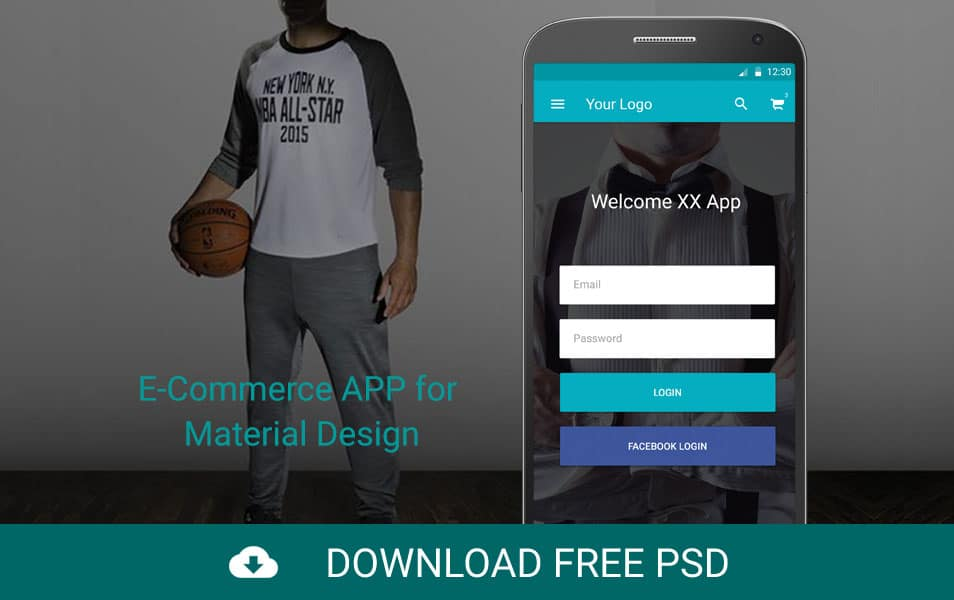 E-Commerce APP for Material Design PSD