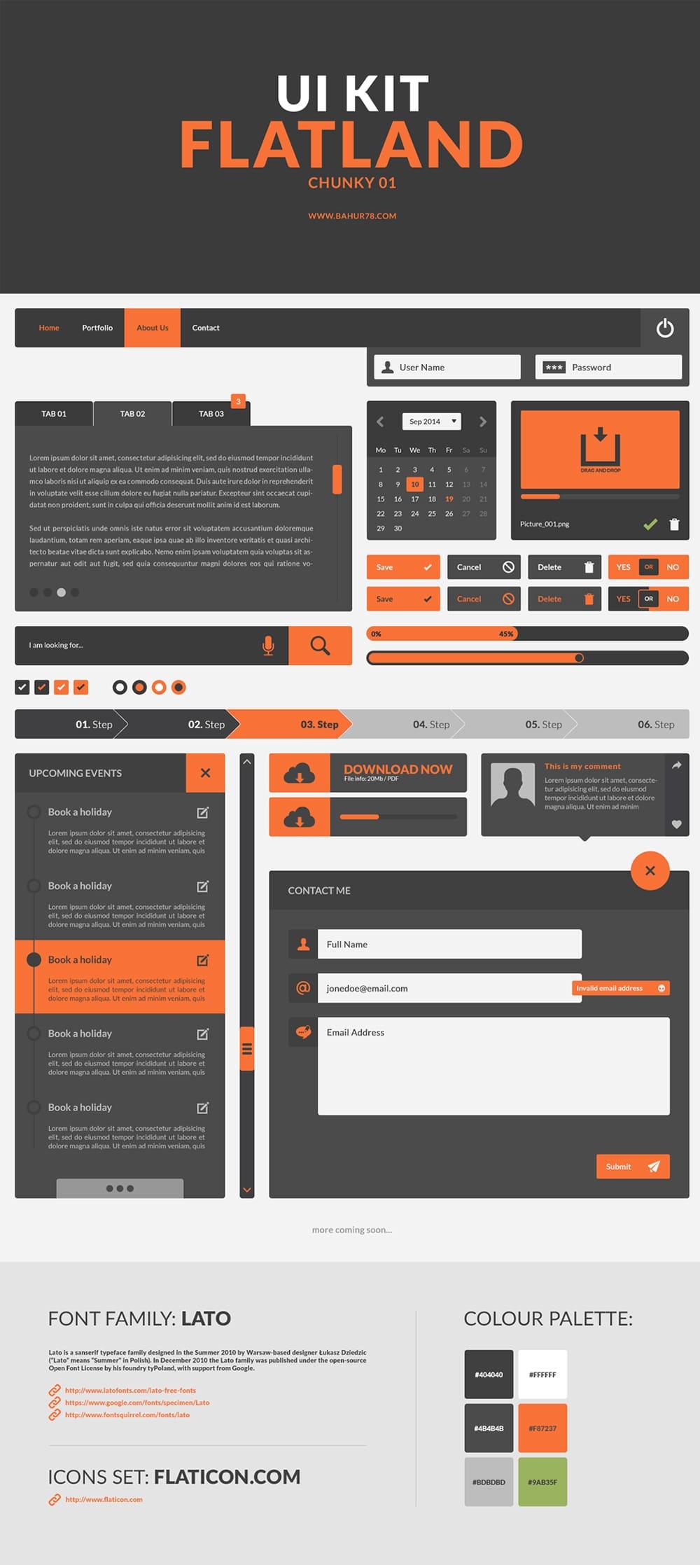 Flatland - Free UI Kit PSD