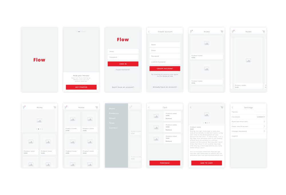 Flow - Free iOS Wireframe Kit