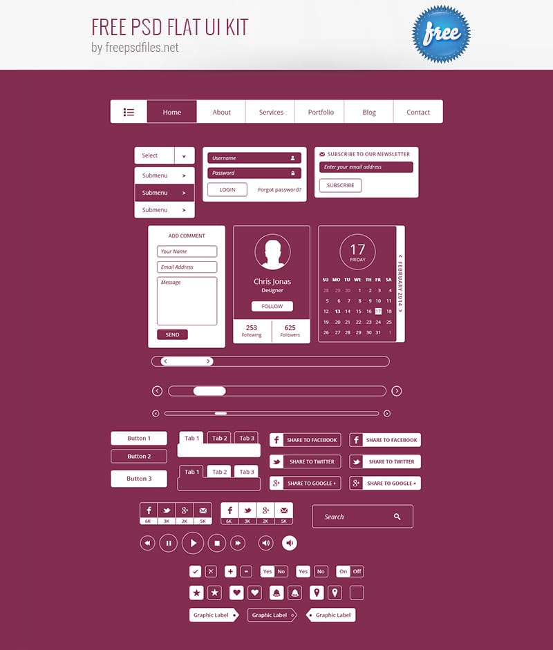55 Best Free Psd Flat Ui Kits: Latest Free Web Elements From March 2015