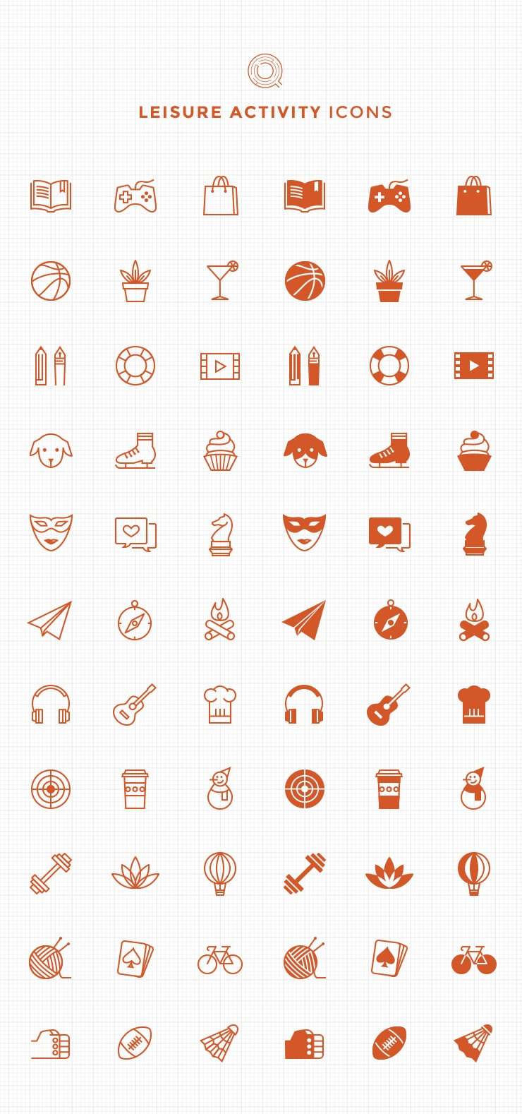 Free Line and Filled Leisure Activity Icons