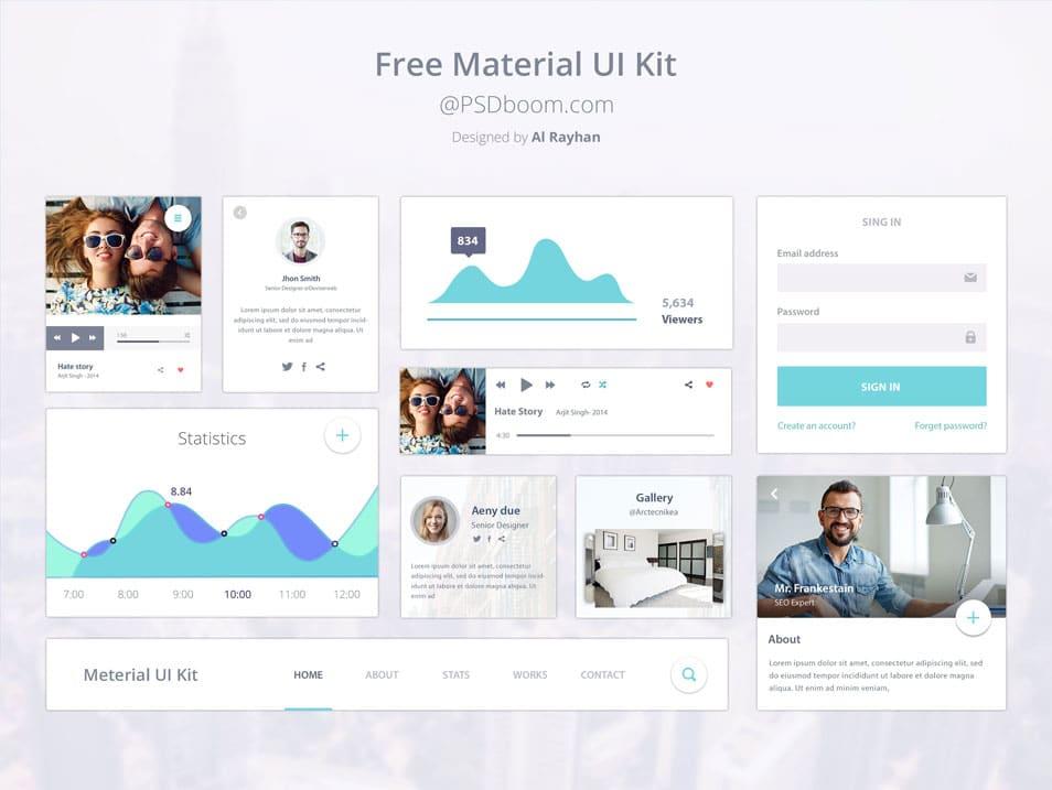 Free Material UI Kit PSD