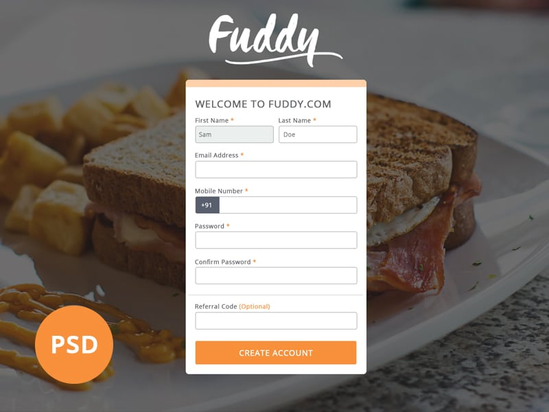 Free Register UI PSD