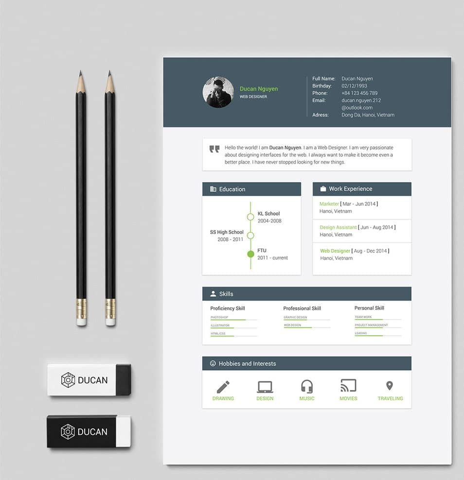 Free Resume Template - Material Design
