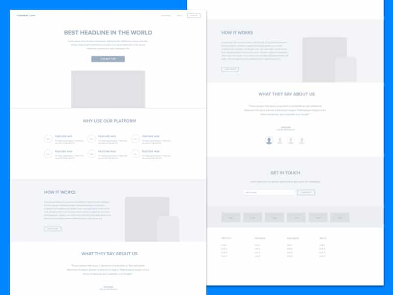 Free Sketch Landing Page Wireframe