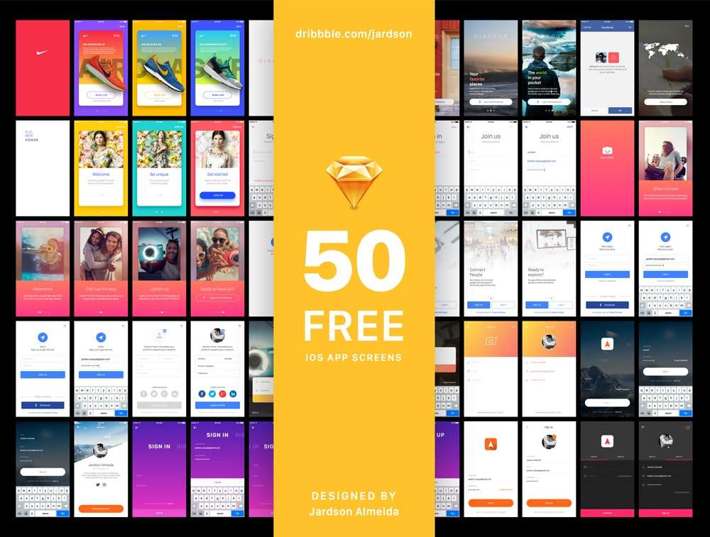 Free iOS App Screens for Sketch