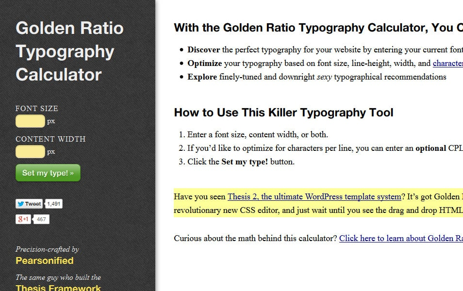 Golden Ratio Typography Calculator