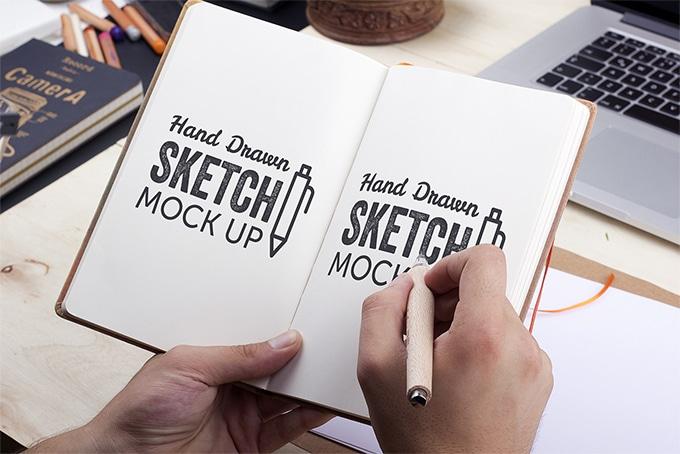 Hand-Drawn Sketch Mockup PSD