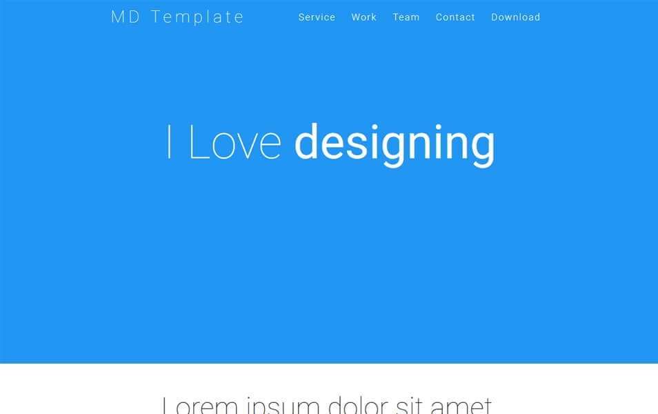 MD One page HTML Template