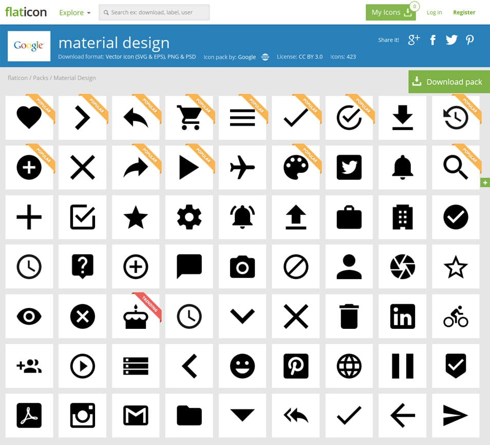 Material Design +420 free icons