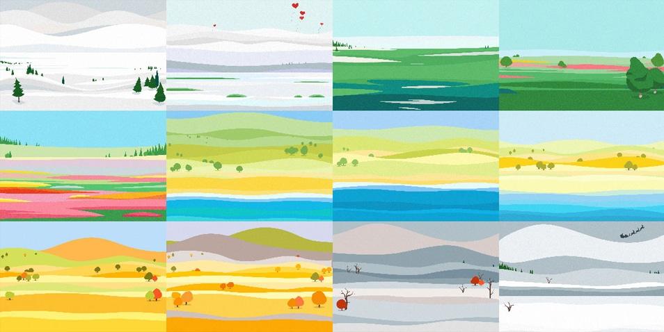 Material Design Calendar Illustrations