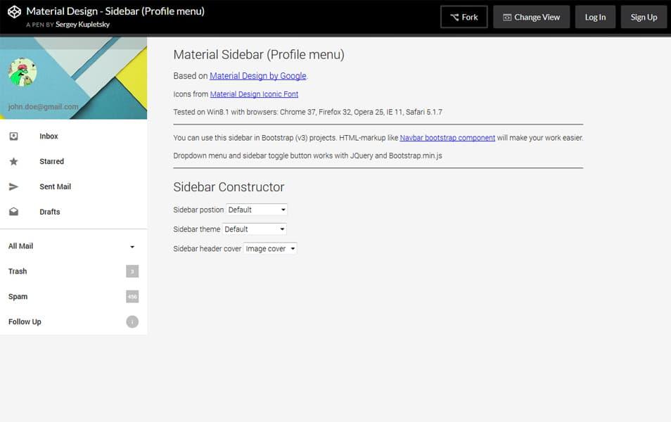 Material Design Sidebar (Profile menu)
