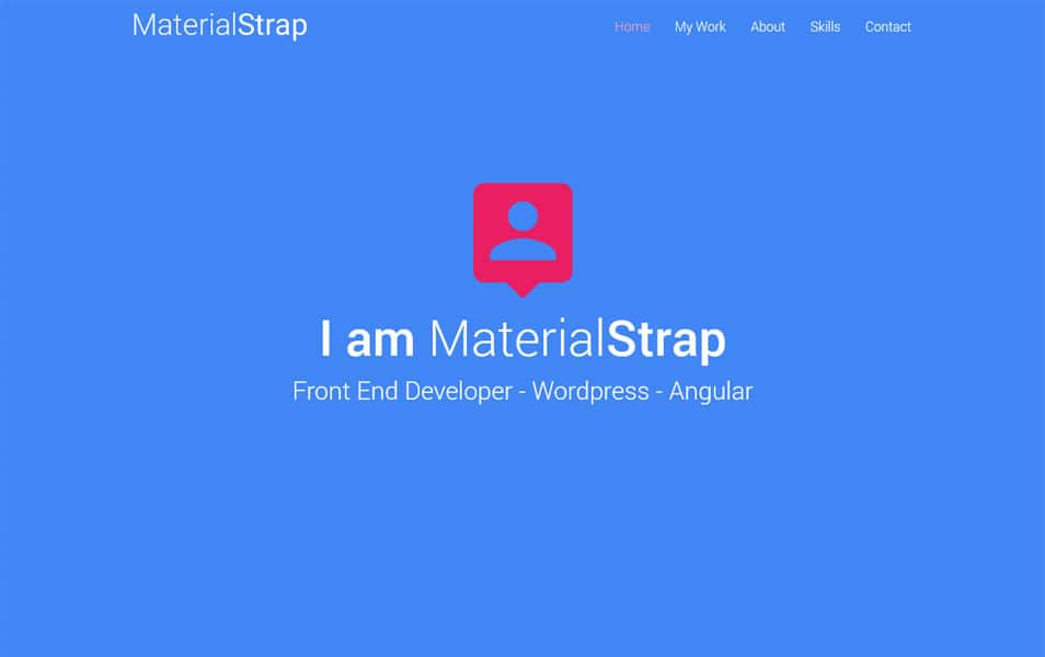 MaterialStrap – One Page Resume theme