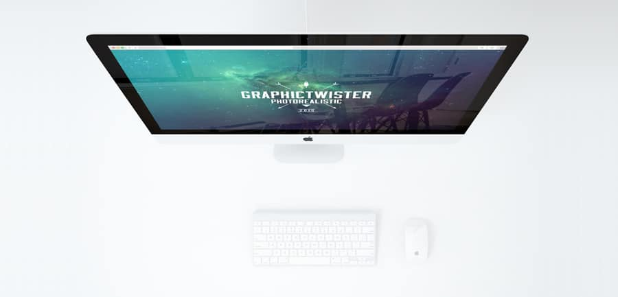 Minimal Office With iMac Mockup PSD
