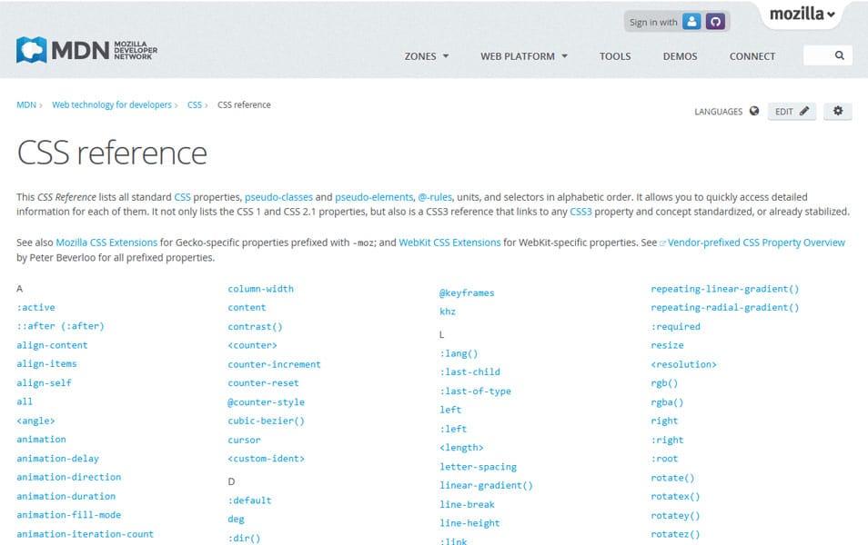 Mozilla CSS Reference
