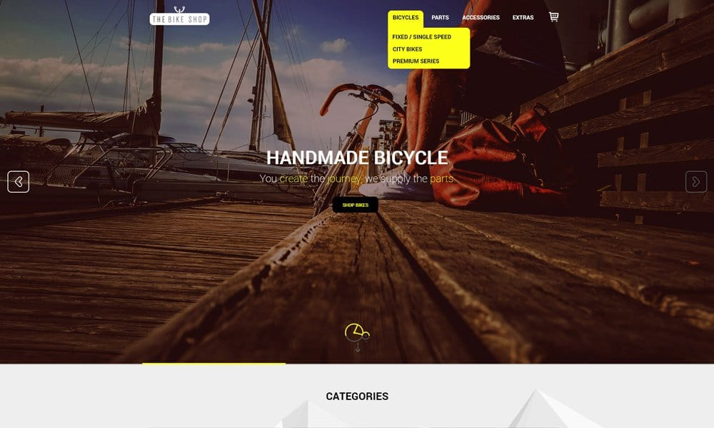 The Bike Shop – Free Home Page PSD