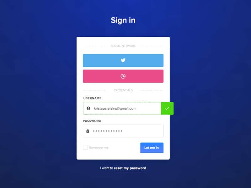 UI Challenge Login Form