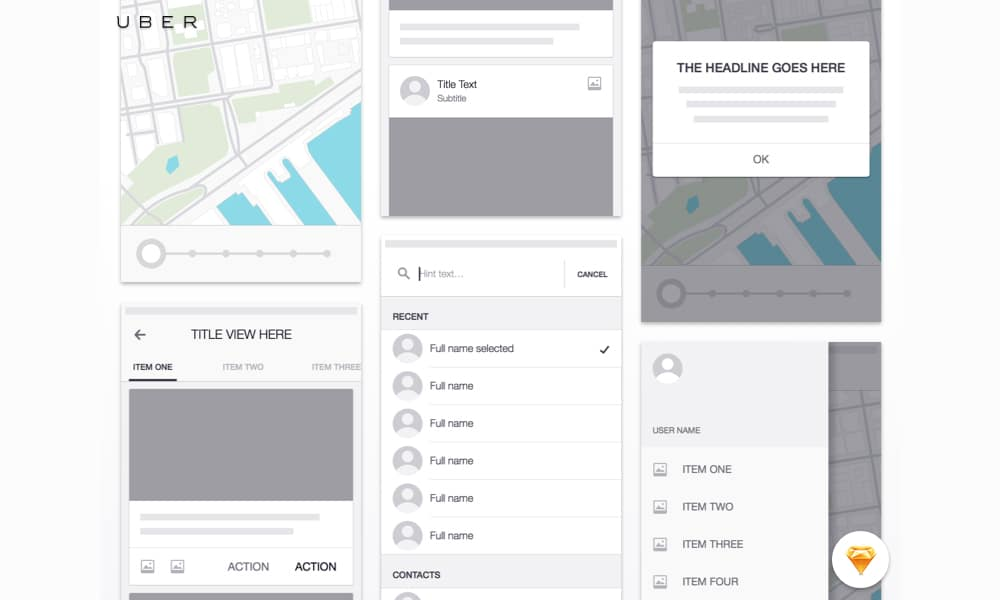 Uber iOS Wireframe Kit
