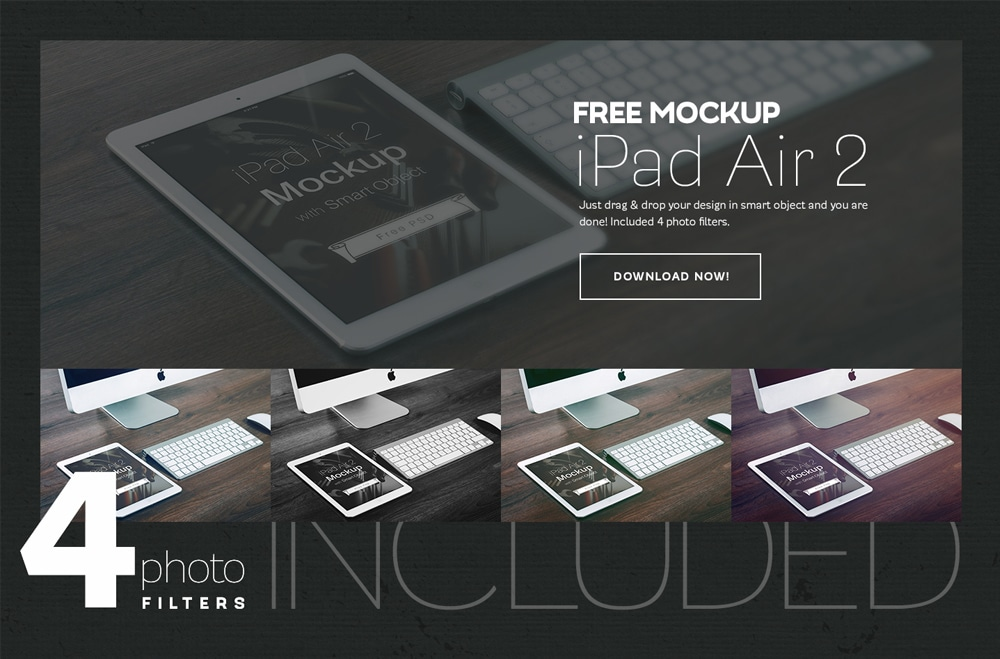 iPad Air 2 Free Mockup PSD