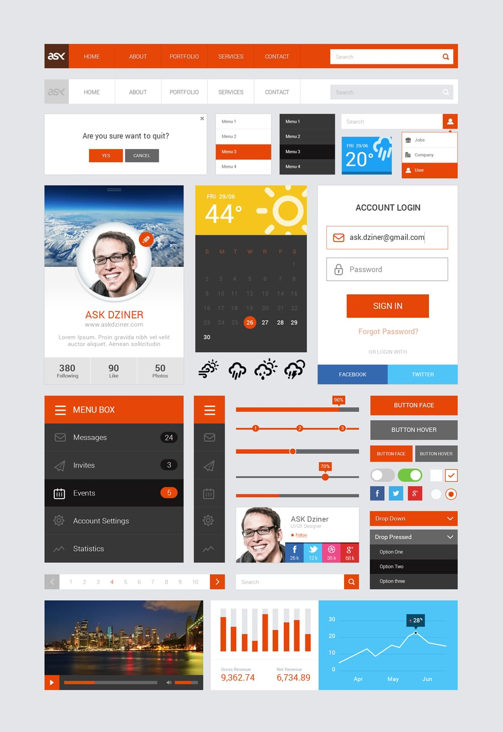 Ask Free UI Kit PSD