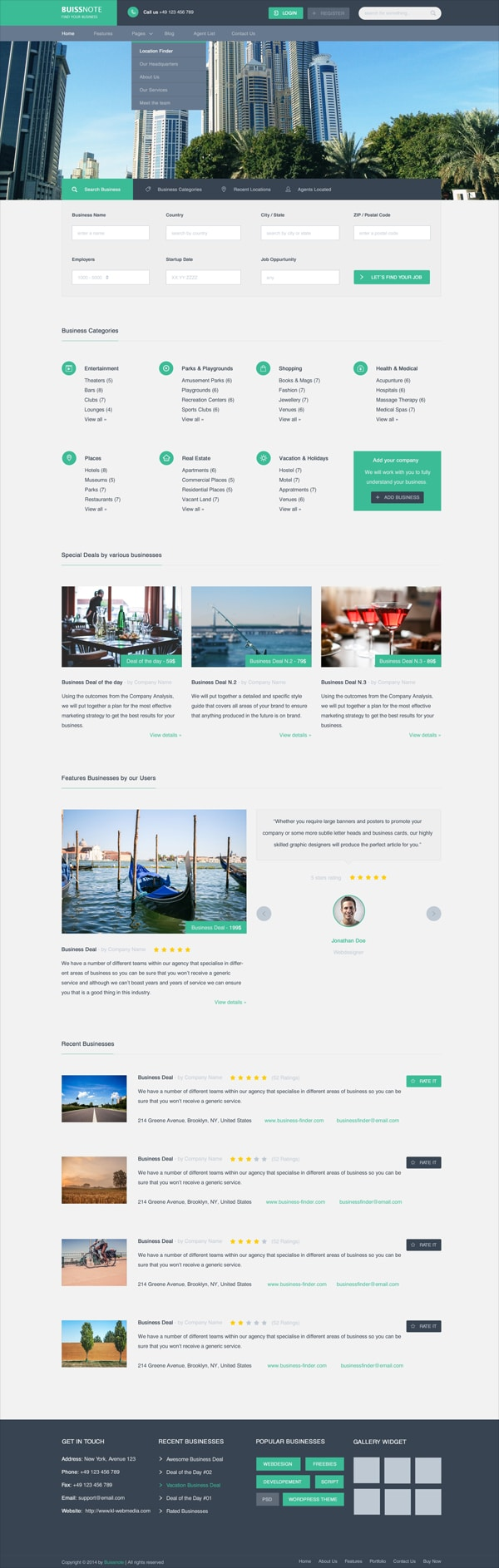 Buissnote – Free Web Template PSD