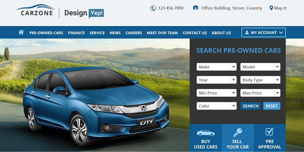 Used Car Website Template. car services. used car dealer website ...